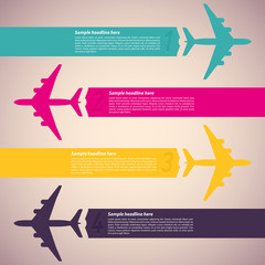 Background with colorful airplanes. Vector illustration.
