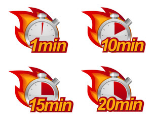 1 , 10 , 15 and 20 minutes timers with fire on background