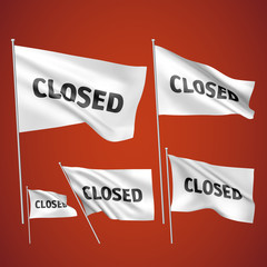 Closed - white vector flags