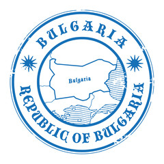 Grunge rubber stamp with the name and map of Bulgaria, vector
