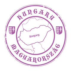 Grunge rubber stamp with the name and map of Hungary, vector