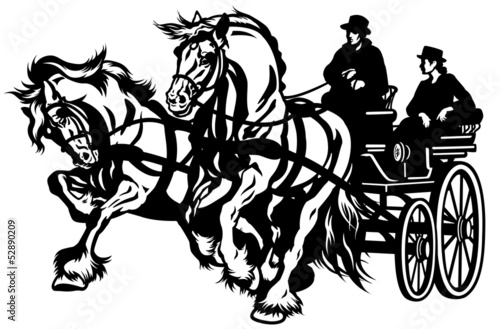 pair horses drawn carriage