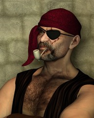 Old Pirate with Clay Pipe