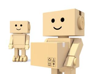 Cute cardboard robots carrying paper box