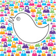 bird with in group of people stock vector