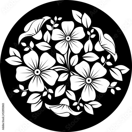 White flower ornament on a black background. Vector illustration