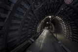 Coal mine machinery: belt conveyor in underground tunnel