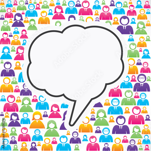 message bubble with in group of people stock vector