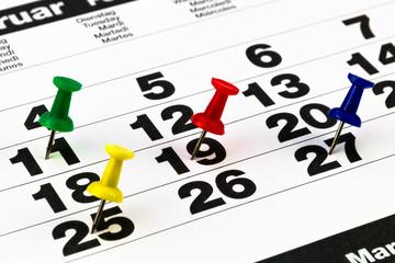 Terminkalender mit farbigen Pins