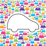 Car icon with in group of people stock vector