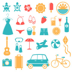 Summer, Holiday, Beach, Travel Icon Set