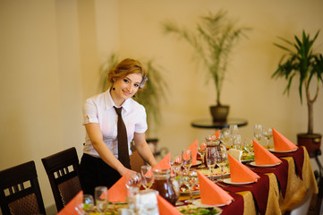 the waiter in the restaurant