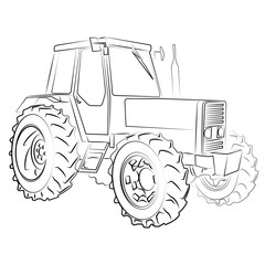 Tractor isolated on white