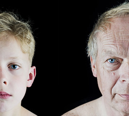 Old man and young boy face comparison closeup