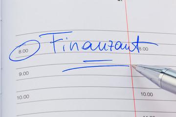 Eintrag im Kalender: Finanzamt