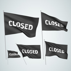 Closed - black vector flags