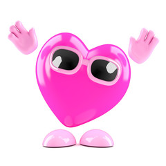 Pink heart cheers enthusiastically
