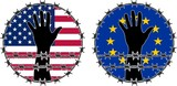 Violation of human rights in USA and EU poster