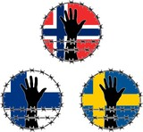 Violation of human rights in Scandinavian poster