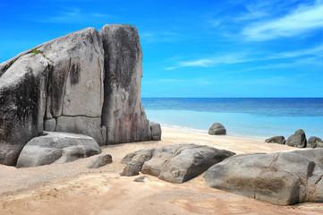 Idyllic beaches with yellow sand and beautiful rocks