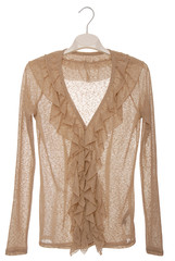 It is a beige blouse with jabot.