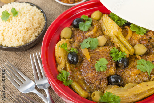 Moroccan chicken tagine with olives, preserved lemon and fennel.