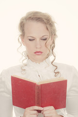 woman reading romantic book