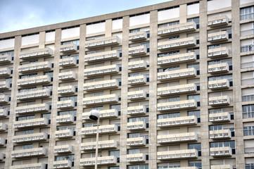 Lyon, arquitectura, detalle de un bloque de viviendas