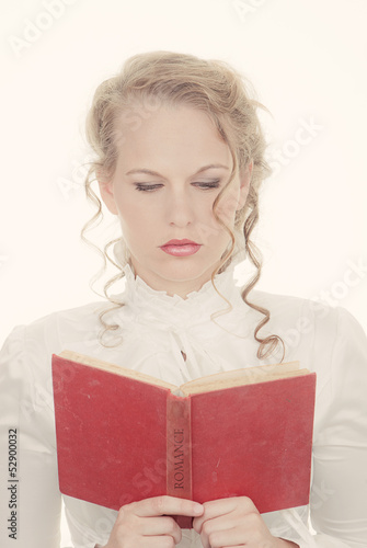 woman reading romantic book