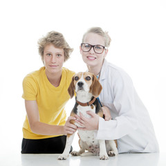 child vet and pet dog