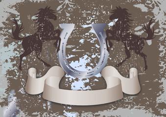 vintage style horse riding emblem or background