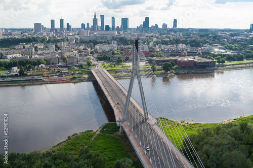 Fototapeta Warsaw panorama, Świętokrzyski bridge