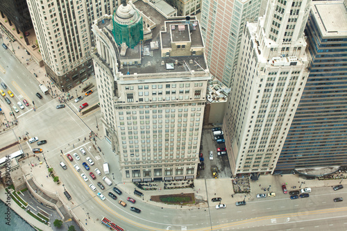 Fotobehang Grote meren Chicago. Aerial view of Chicago downtown.