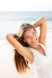 Beautiful young woman girl relaxing on beach