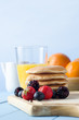 Pancakes Fruit and Juice Breakfast