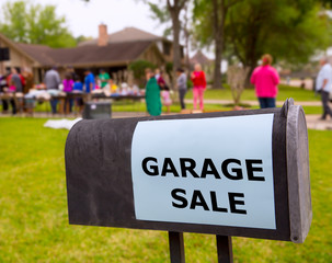 Garage sale in an american weekend on the yard