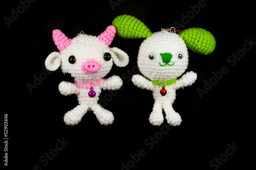 handmade crochet white pig with pink nose and white rabbit with
