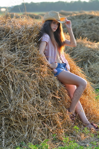 Country girl on hay