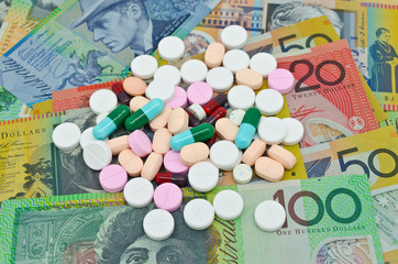 drugs on money background