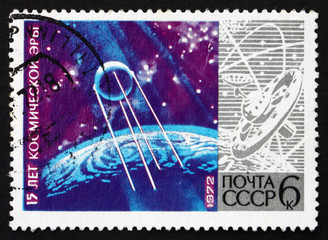 Postage stamp Russia 1972 Sputnik 1, Spacecraft