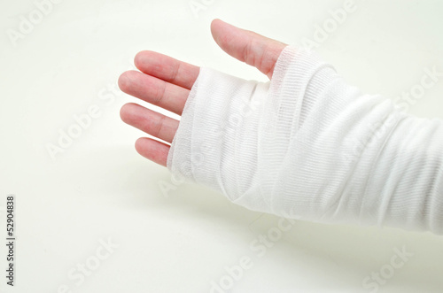 hand tied with elastic bandage