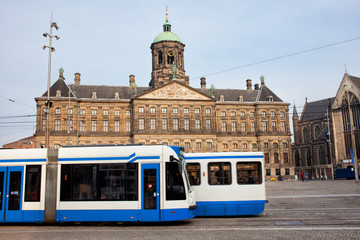 Royal Palace and Trams in Amsterdam