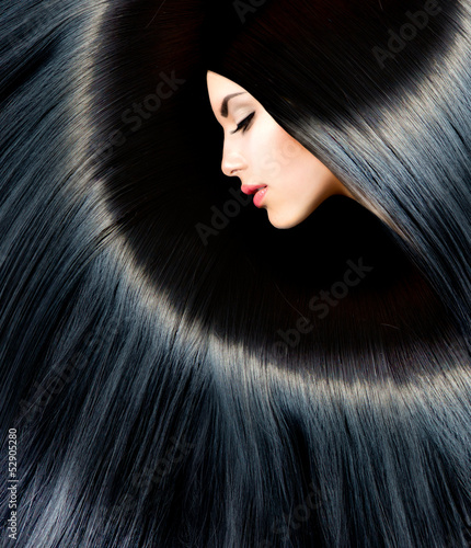 Poster Healthy Long Black Hair. Beauty Brunette Woman