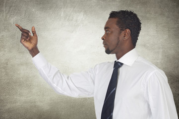 African businessman pointing something