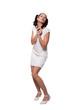Retro girl in a white dress