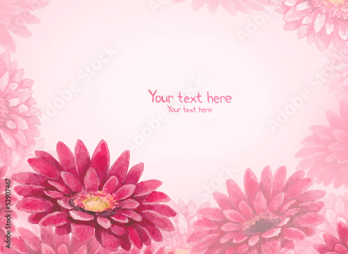Watercolor background with gerber flower illustration