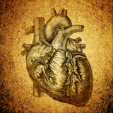 heart drawing on grunge texture background