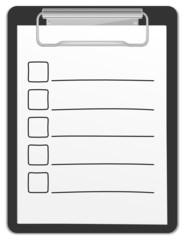 Klemmbrett Checkliste leer