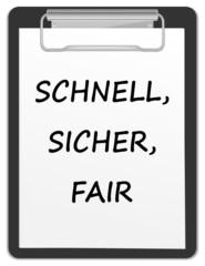 Klemmbrett - schnell, sicher, fair