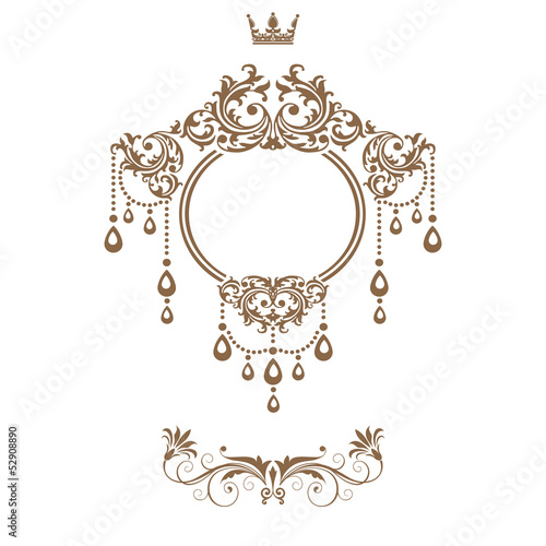 Elegant royal frame with crown isolated on white background..